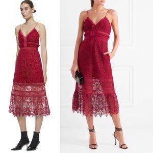 ab0e406992e Self-Portrait Dresses - Self-Portrait Guipure Lace Midi Dress Red